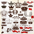 Collection of vector ornate crowns for design set your heraldic Royalty Free Stock Image