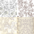 Collection of vector patterns in light colors with Victorian swirls