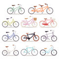 Collection of vector realistic bicycles vintage style wedding design old bike design transport illustration