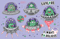 Collection of vector stickers with fantastic creatures in the galaxy