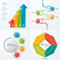 Collection of vector templates for infographics with 4 options