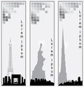Collection of vector vertical banners of cities Royalty Free Stock Photo