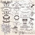 Collection of vector vintage decorative and calligraphic elemen set elements for design Royalty Free Stock Images