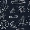 Collection of vector yachting doodle icons. objects.