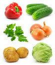 Collection of vegetable fruits isolated on white Royalty Free Stock Photography