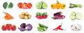 Collection of vegetables carrots tomatoes cucumber eggplant bell Royalty Free Stock Photo