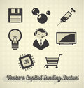Collection of venture capital funding labels and icons Stock Images