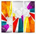 Collection vertical headers abstract banners with colorful elements Royalty Free Stock Image