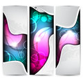 Collection vertical headers abstract banners with colorful elements Stock Photography
