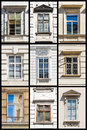 Collection of vienna windows in historic buildings in austria Royalty Free Stock Images