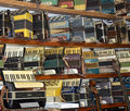 Collection of vintage accordions in Volgograd Museum of musical instruments Royalty Free Stock Photo