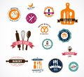 Collection of vintage bakery and cafe labels cooffee shops badges Royalty Free Stock Photo
