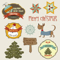 Collection of vintage christmas decorative elements and labels illustration Stock Photo