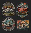 Collection of vintage explorer, wilderness, adventure, camping emblem graphics. Perfect for t-shirts, apparel and other merchandis Royalty Free Stock Photo