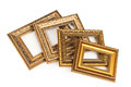 Collection of vintage frame isolated on white golden Royalty Free Stock Image