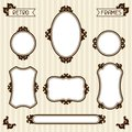 Collection of vintage frames in retro style Royalty Free Stock Photo