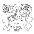 Collection of vintage hand drawn cameras