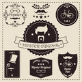 Collection Of Vintage Hipster Badges, Labels And Stamps
