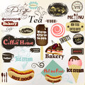 Collection of vintage labels and badges coffee bakery hot dogs vector set for cafe house design Royalty Free Stock Photo
