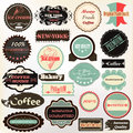 Collection of vintage labels coffee ice cream and quality for d vector set cafe house design Royalty Free Stock Photography