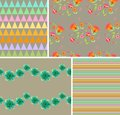 Collection of vintage patterns with flowers and geometric ornaments