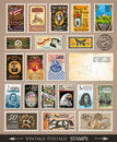 Collection of Vintage Postage Stamps Royalty Free Stock Photography