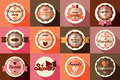Collection of vintage retro ice cream and cupcake labels stickers badges ribbons vector illustration Stock Photos