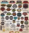 Collection of vintage retro labels badges stamps ribbons marks and typographic design elements vector illustration Royalty Free Stock Images