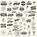 Collection of vintage retro labels, badges, stamps, ribbons Royalty Free Stock Photo