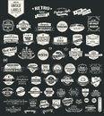 Collection of vintage retro labels badges stamps ribbons marks and typographic design elements vector illustration Stock Photos