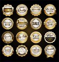 Collection of vintage retro premium quality golden badges and labels Royalty Free Stock Photo