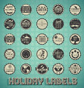 Collection of vintage style mixed holiday labels and icons Royalty Free Stock Photography
