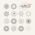 Collection of vintage style starburst hand drawn elements Royalty Free Stock Photo