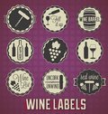 Collection of vintage style wine labels and badges Stock Image