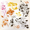 Collection of vintage swirl ornaments for design set vector with leafs Royalty Free Stock Photography