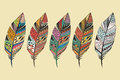 Collection of vintage tribal ethnic hand drawn colorful feathers Royalty Free Stock Photo