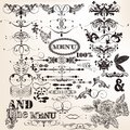Collection of vintage vector design elements and page decoration set calligraphic for calligraphic Stock Photos