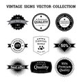 Collection of vintage vector logos and signs Royalty Free Stock Photo