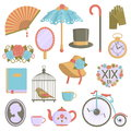 Collection of vintage victorian era items Royalty Free Stock Photo