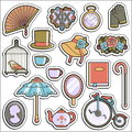Collection of vintage victorian era stickers Royalty Free Stock Photo