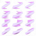 Collection of the violet ribbons on the light textured background Stock Photography