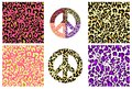 Collection wallpaper and hippie peace symbol with leopard print. Fashion design for t-shirt, bag, poster, scrapbook