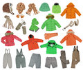 Collection of warm children s clothing isolated on white Stock Photography