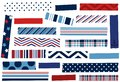 Collection of washi tape strips in red, white and blue Royalty Free Stock Photo