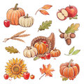 Collection of watercolor autumn illustrations thanksgiving theme Royalty Free Stock Photography