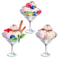 Collection watercolor balls of ice cream sundae