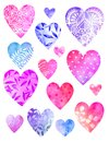 Collection of watercolor decorative hearts