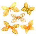 Collection watercolor of flying butterflies. For cover design, packaging, backgrounds