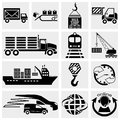 Collection of web icon internet icon business icon supply chain shipping shopping and industry vector icons set on grey background Stock Photography