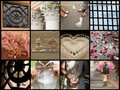 Collection of wedding details original collage from ceremony and reception Royalty Free Stock Photography